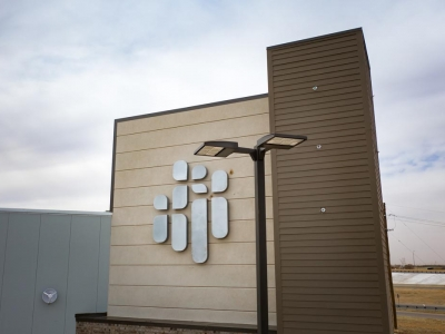 Detail view of commercial exterior parking lot lighting in Lubbock, Texas.