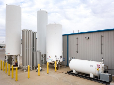Exterior gas storage tanks at Lubbock industrial provider.