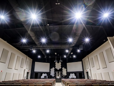 Highly specialized commercial auditorium electrical and lighting work in Lubbock church.
