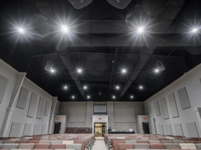 Highly specialized commercial auditorium electrical and lighting work in Lubbock church, with LED lighting.