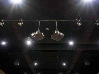 Specialized commercial auditorium electrical and lighting work in Lubbock church, with video projectors.
