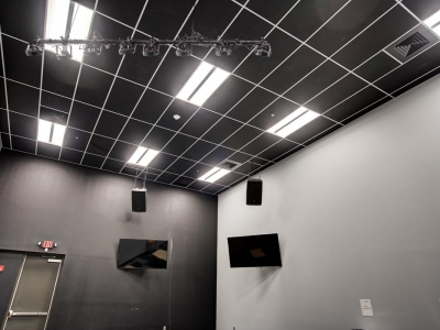 Specialized commercial electrical and lighting work in Lubbock church, with features for presentation room or stage.