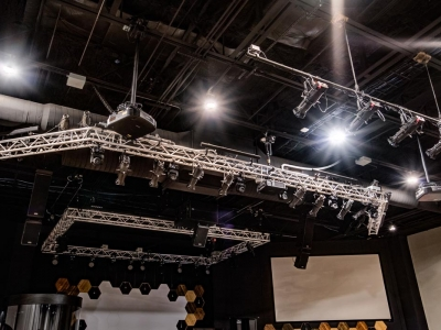 Highly specialized commercial auditorium electrical and lighting work in Lubbock church, with overhead lighting array.
