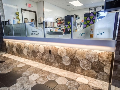 Specialized order counter lighting and commercial electrical work in shaved ice cafe.