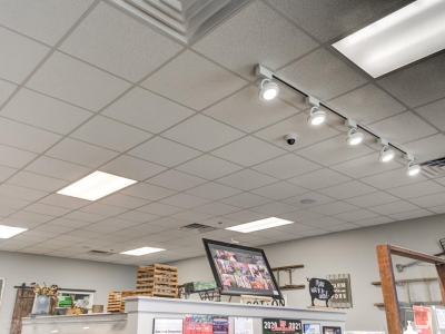 Speciality lighting and overhead commercial electrical work in Lubbock beverage cafe.