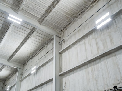 Commercial electrical work and LED lighting at RV yard workshop, in Lubbock, Texas.