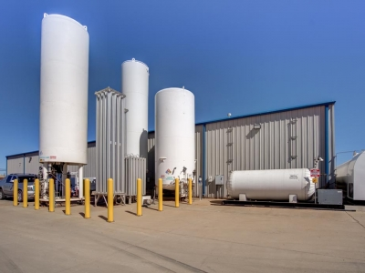 Exterior gas storage tanks at Lubbock industrial provider, with speciality electric work.