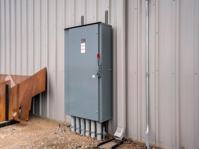 Industrial-grade exterior commercial electrical panel for plant, installed by Lubbock Elite Electric.