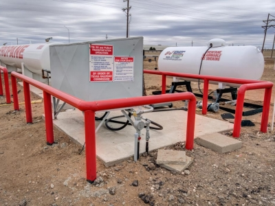 Specialized professional exterior industrial commercial electrical installation by Lubbock Elite Electric for propane/gas industry.